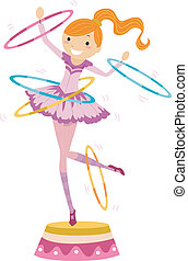 Girl Circus Hoops - Illustration of a Female Circus...