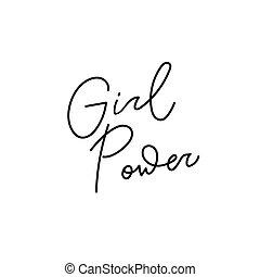 girl, citation, puissance, chemise, lettrage