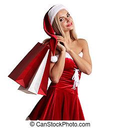 girl, claus, achats, déguisement, santa