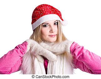 girl, claus, chapeau, jeune, santa