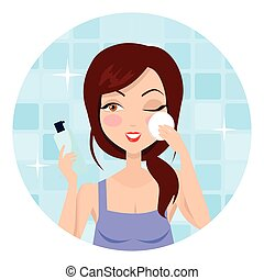 Girl Cleaning and Care Her Face
