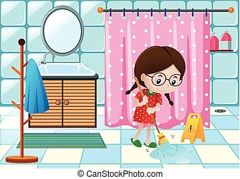 Girl cleaning bathroom floor