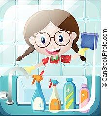 Girl cleaning bathroom sink