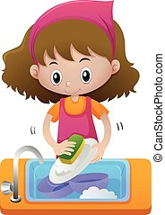 Girl cleaning dish in the sink illustration