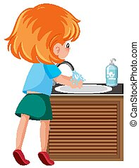 Girl cleaning hand to avoid coronavirus illustration