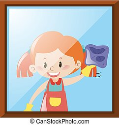 Girl cleaning window with cloth