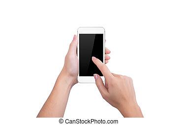 Girl clicks on the screen of white phone