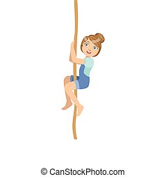 Girl Climbing A Rope As Physical Education Class Exercise