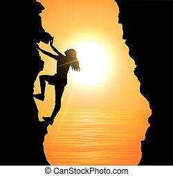 girl climbing on mountain - Vector illustration of girl...