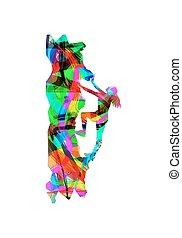 girl climbing on mountain - abstract vector illustration of...