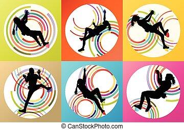 Girl climbing rock wall set vector background concept