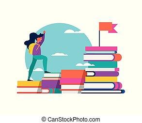 Girl climbing school book for success concept