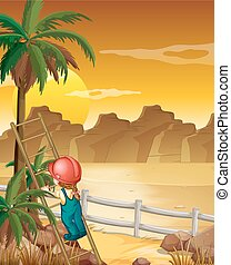 Girl climbing up the palm tree