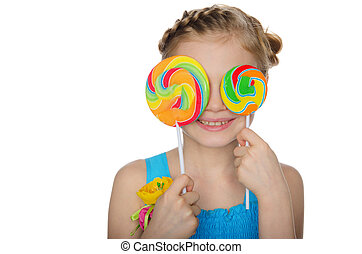 Girl closed her eyes lollipop isolated on white