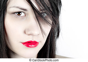 girl, closeup, blanc, peau