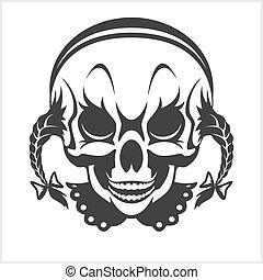 girl clown skull isolated