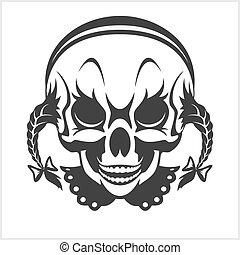 girl clown skull isolated