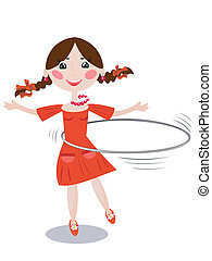 Kids and sport series: a girl playing with a hula hoop