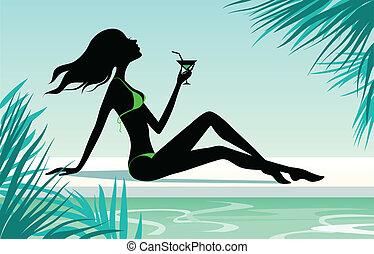 girl, cocktail