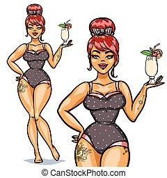 girl, cocktail, haut, épingle, joli