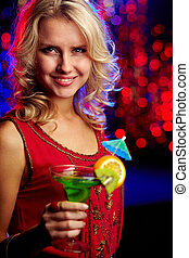 girl, cocktail, heureux