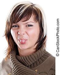girl, collage, langue, elle, dehors