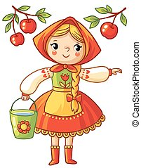 Girl collects apples in a bucket.