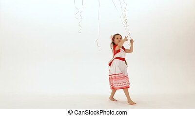 Girl Collects Balloons