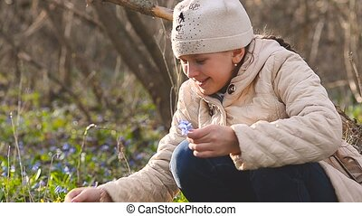 Girl collects blue snowdrops in the forest