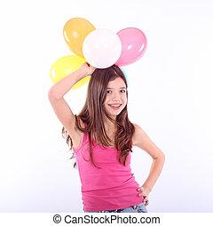 girl, coloré, adolescent, ballons