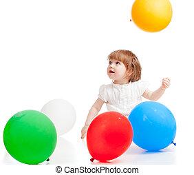 girl, coloré, isolé, ballons, blanc