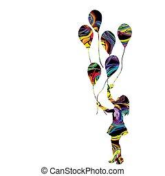 girl, coloré, silhouette, ballons