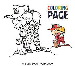 girl, coloration, base-ball, dessin animé, page