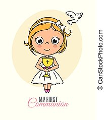 Girl communion card