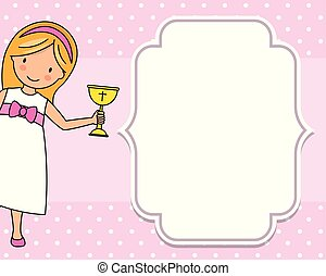 Girl communion card. Child with a chalice