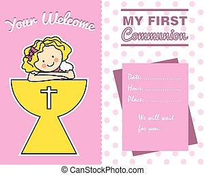 girl, communion, carte, premier