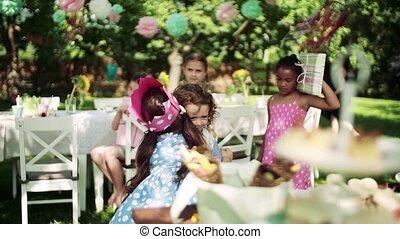 girl, concept., célébration, fête, jardin, dehors, petit,...