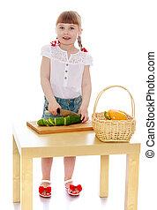 girl, concombre, coupures