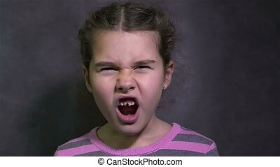 girl conflict screaming quarrel teen angry waving his arms -...