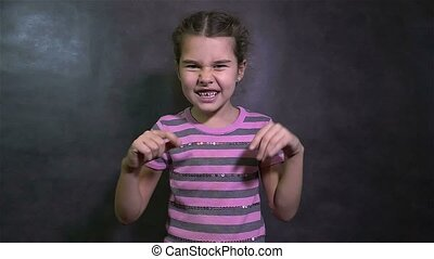 girl conflict teen screaming quarrel angry waving his arms