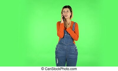 girl, conversation, mobile, vert, écran, téléphone.