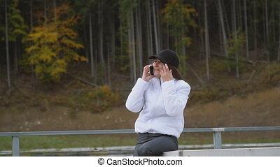 girl, conversation, téléphone