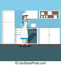 Girl cook in the kitchen. Vector illustration.