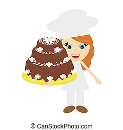 girl cook with big cake