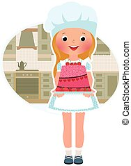 Girl cook with cake