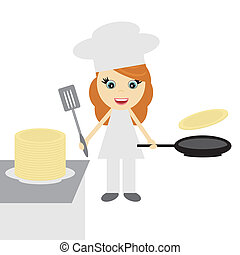 girl cook with pancakes on white background vector