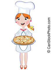 Girl cook with pizza