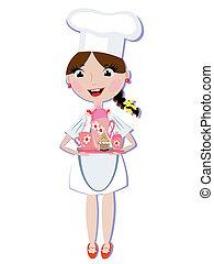 Girl cook with tea set
