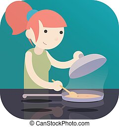 girl cooking food on Induction Cooktop with pan. a logo icon flat cartoon design