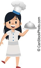 Girl cooking with cooking hat, illustration, vector on white background.